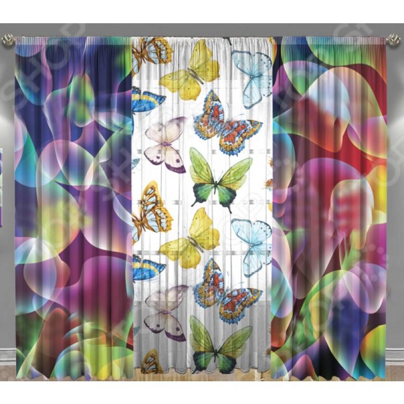 Комплект фотоштор с тюлем ТамиТекс «Разноцветные брызги»