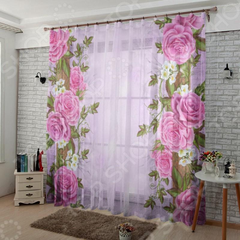 Комплект тюля ТамиТекс «Китайские розы»