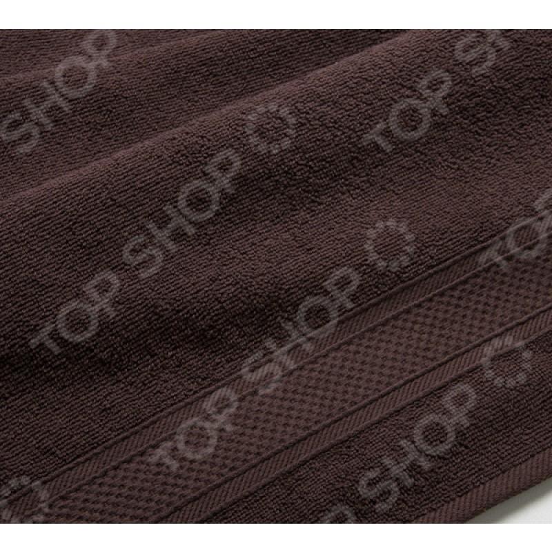 Полотенце махровое Uztex с бордюром. Цвет: коричневый