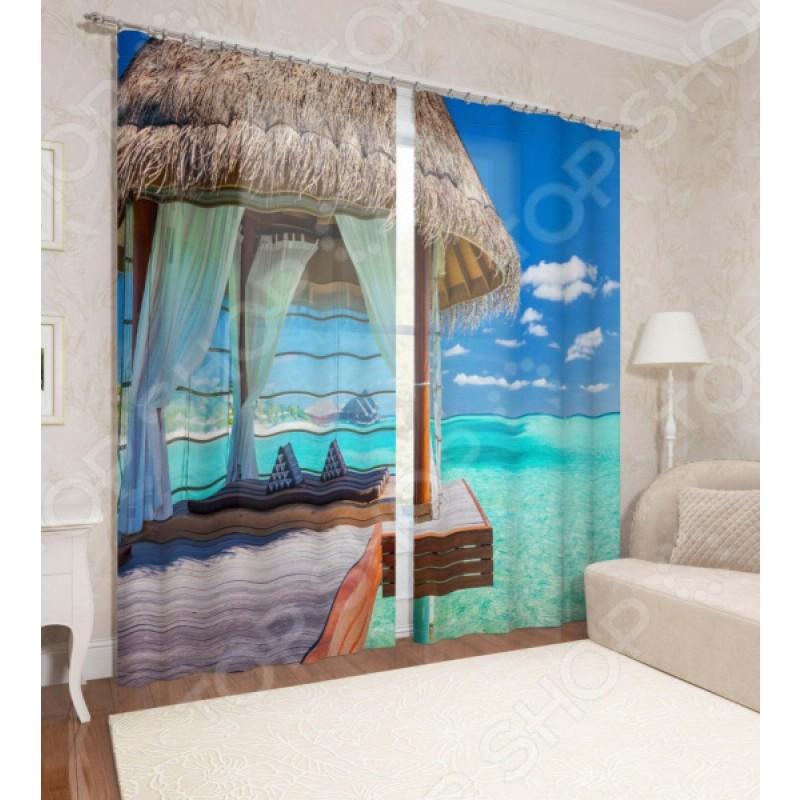 Фотошторы Сирень «Рай на островах»
