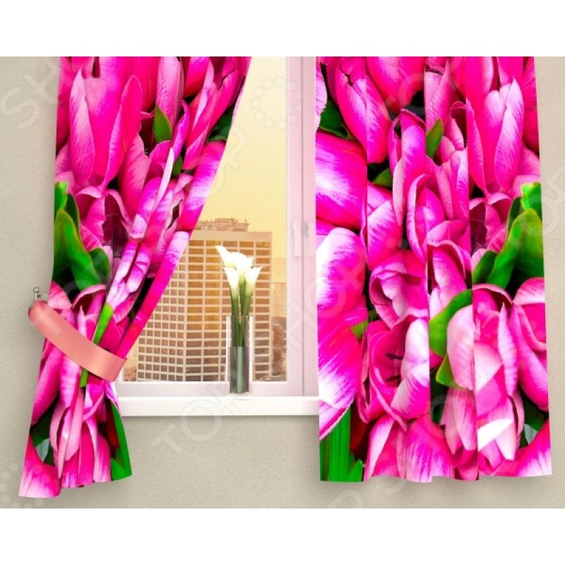 Фотошторы Сирень «Розовые тюльпаны»