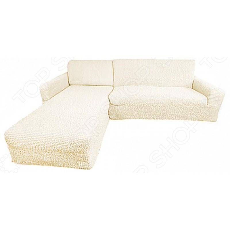 Натяжной чехол на угловой диван с выступом слева Еврочехол «Микрофибра. Ваниль»