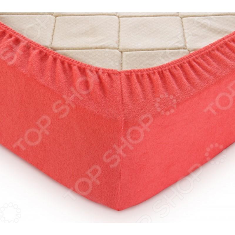 Простыня на резинке ТексДизайн махровая. Цвет: коралловый