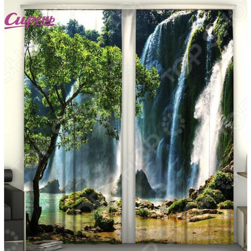 Фотошторы Сирень «Тайны водопада»