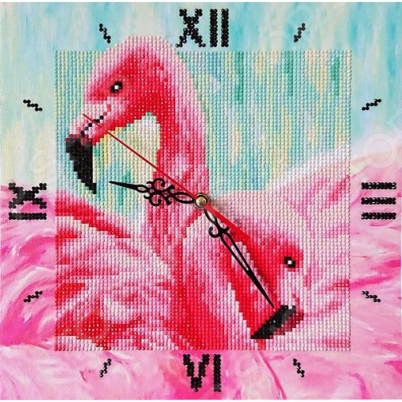Часы из алмазной мозаики Color Kit «Грациозные фламинго»