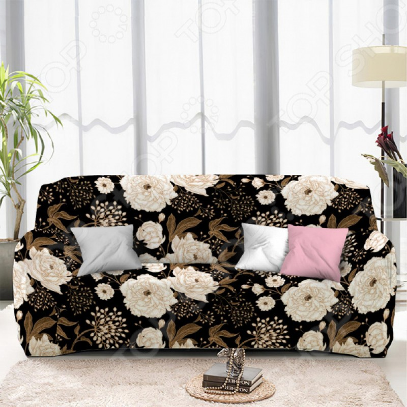 Чехол на трехместный диван «Пионы». Размер: 190х230 см