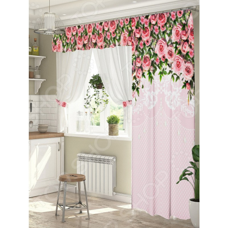 Комплект штор для окна с балконом ТамиТекс «Полет за мечтой». Цвет: розовый