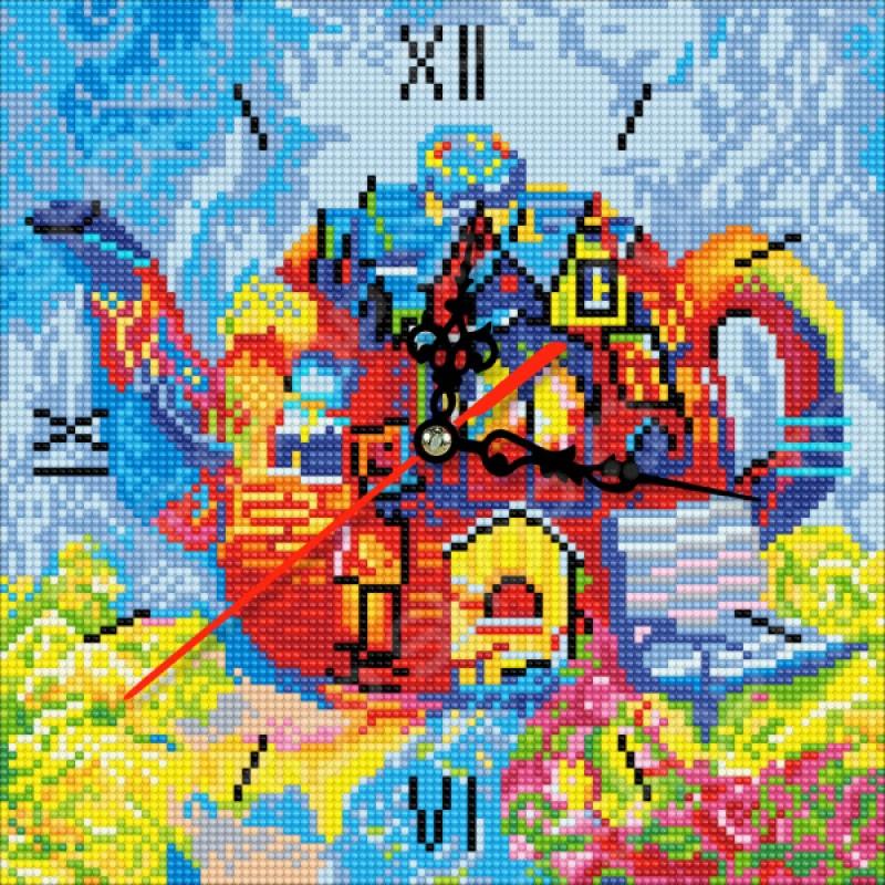 Часы из алмазной мозаики Color Kit «Чайный дом»