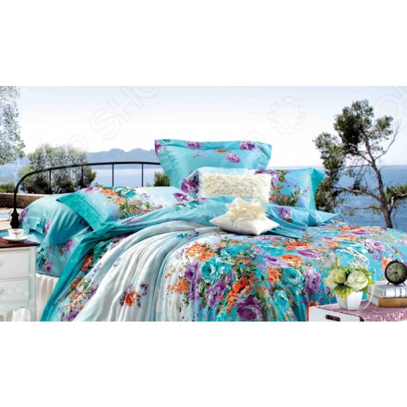 Комплект постельного белья Guten Morgen 649. 1,5-спальный. Цвет: бирюзовый, белый
