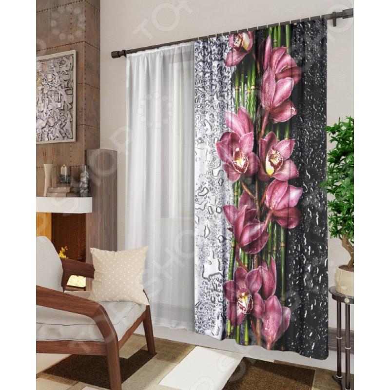 Комплект: фотоштора и тюль ТамиТекс «Орхидея на стекле»