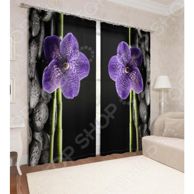 Фотошторы Сирень «Фиолетовая орхидея»