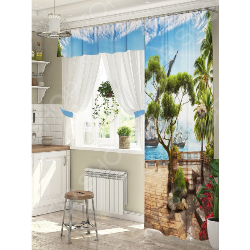 Комплект штор для окна с балконом ТамиТекс «Пристань»