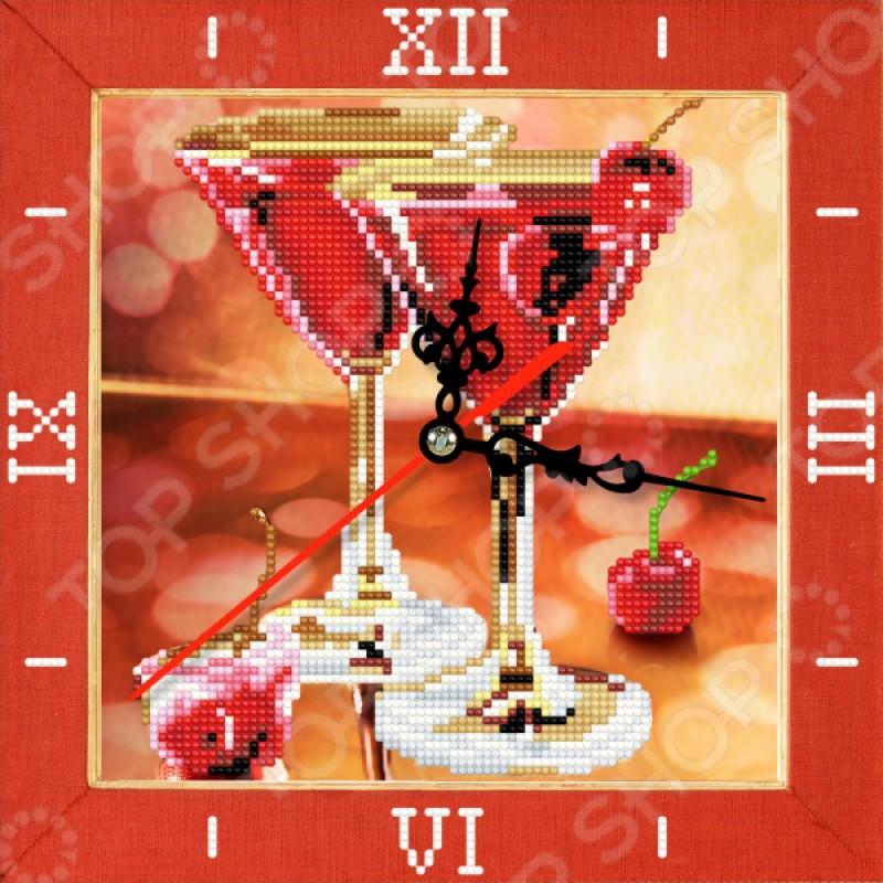 Часы из алмазной мозаики Color Kit «Вишневое мартини»