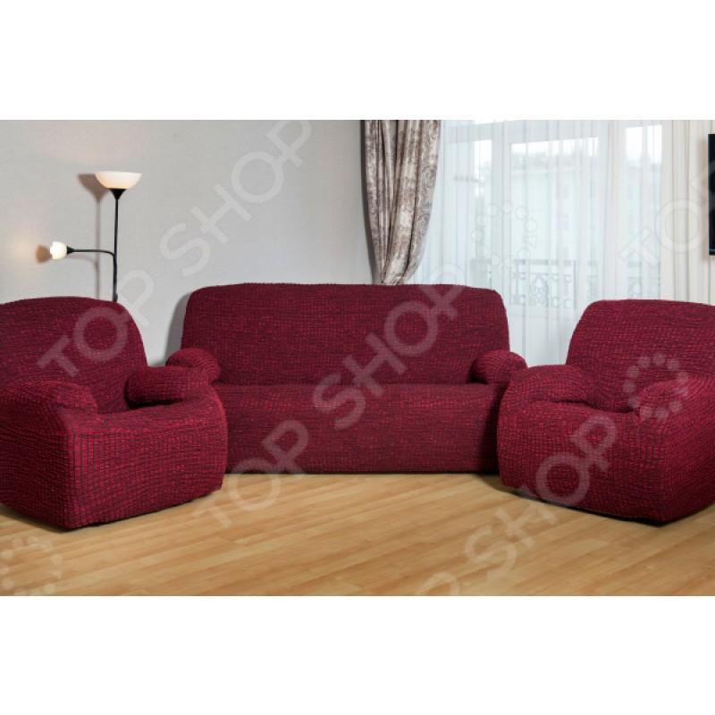 Натяжной чехол на трехместный диван и чехлы на 2 кресла Karbeltex «Модерн-металлик»