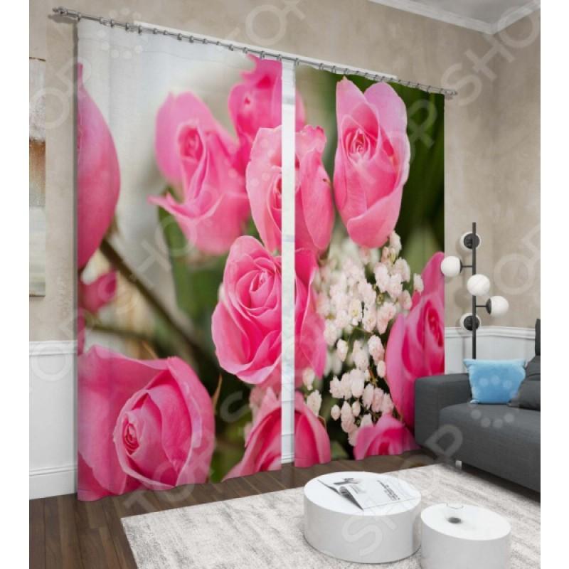Фотошторы Сирень «Крупные розы»
