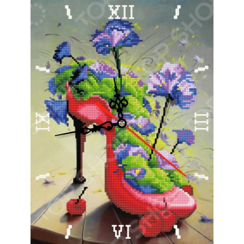 Часы из алмазной мозаики Color Kit «Цветочная туфелька»