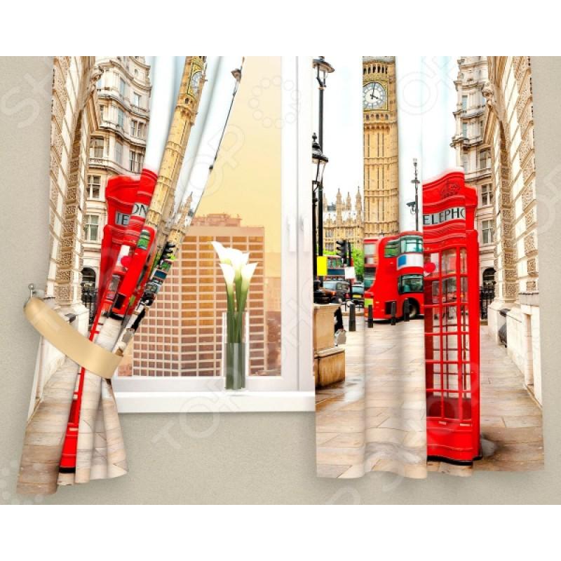 Фотошторы Сирень «Лондонские будки»