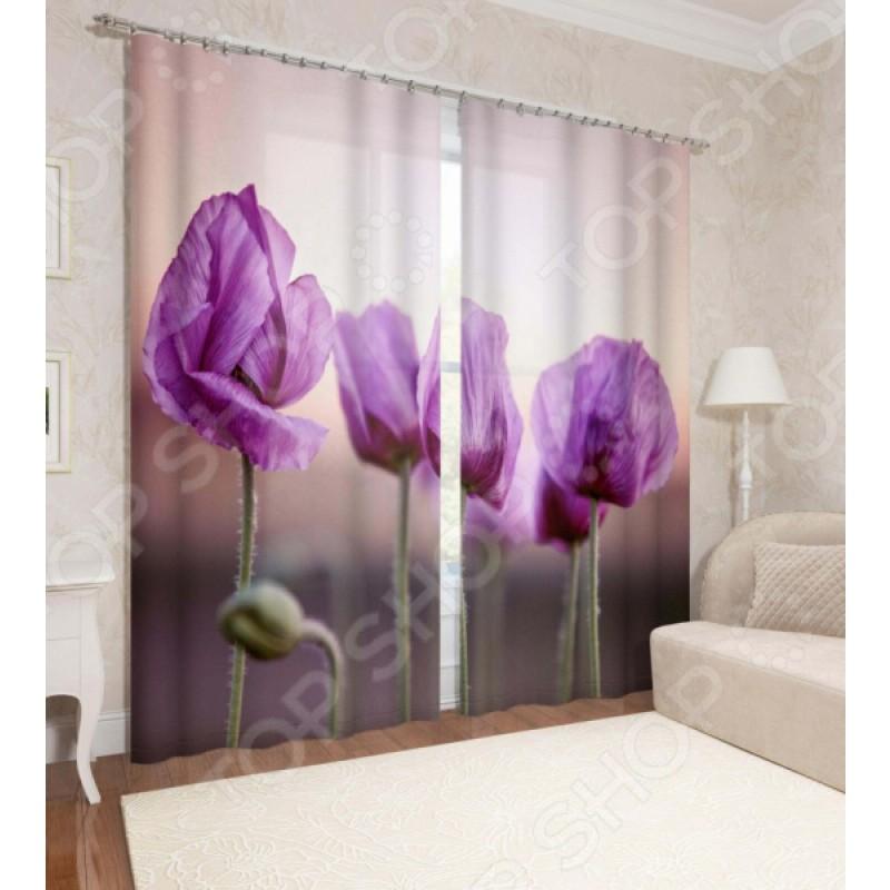 Фотошторы Сирень «Фиолетовые маки»