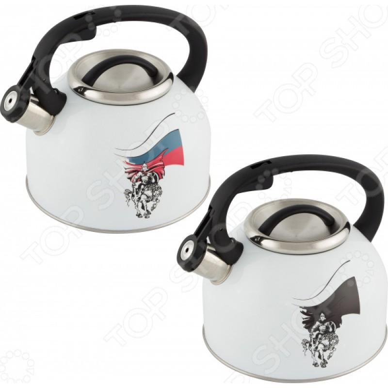 Чайник со свистком и терморисунком Mallony «Русский богатырь»
