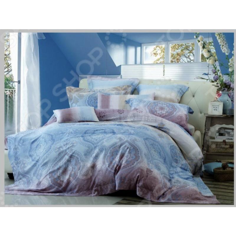 Комплект постельного белья Guten Morgen 577. 1,5-спальный. Цвет: голубой, сиреневый