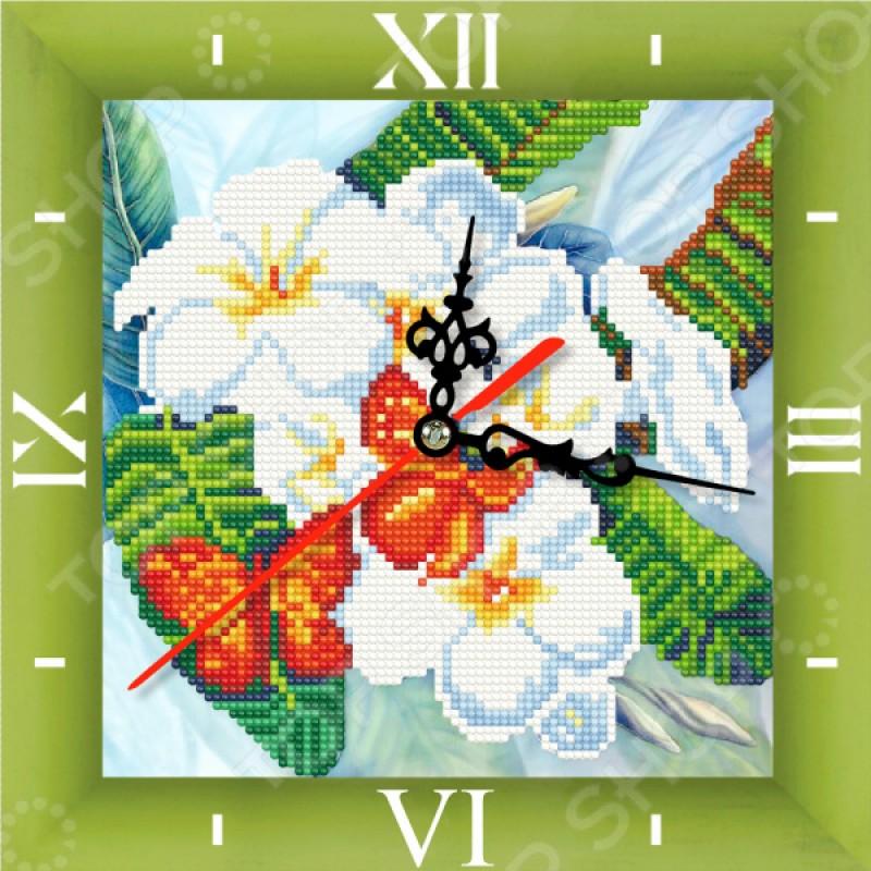 Часы из алмазной мозаики Color Kit «Бабочки и магнолии»