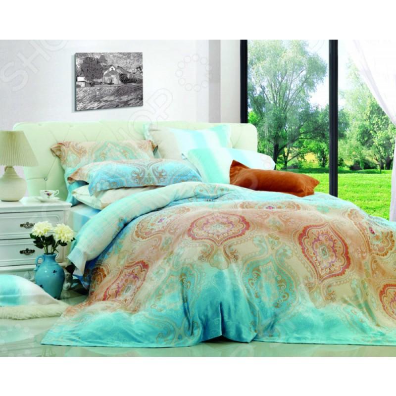 Комплект постельного белья Guten Morgen 577. 1,5-спальный. Цвет: бирюзовый, светло-коричневый