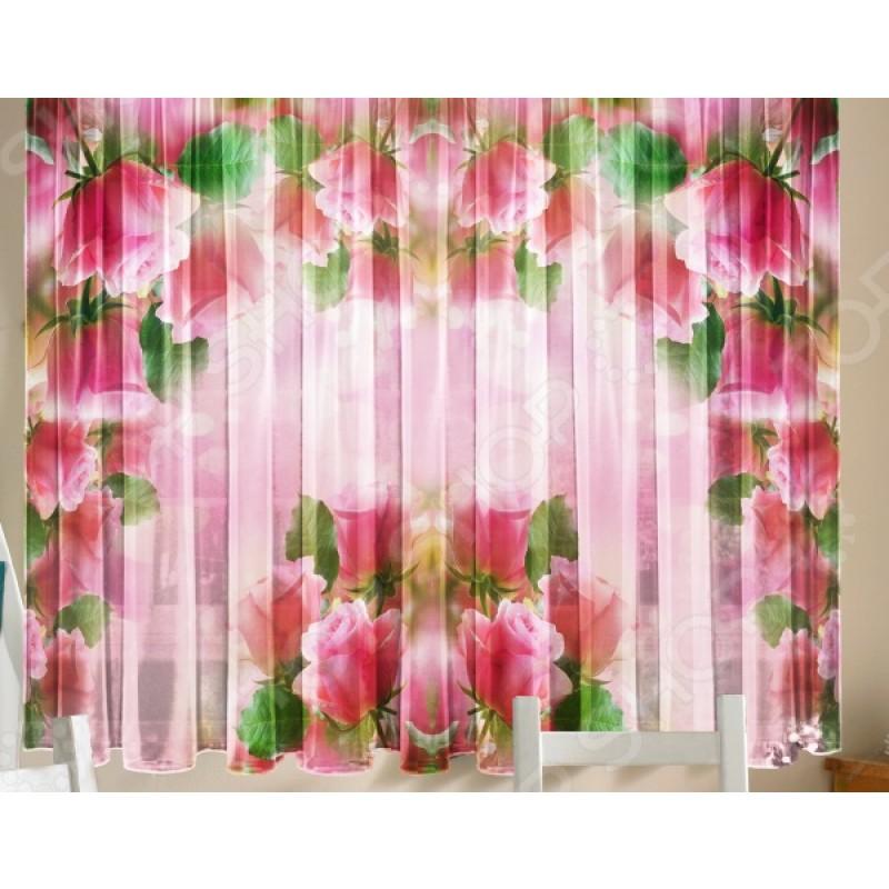 Тюль для кухни «Розовая арка»