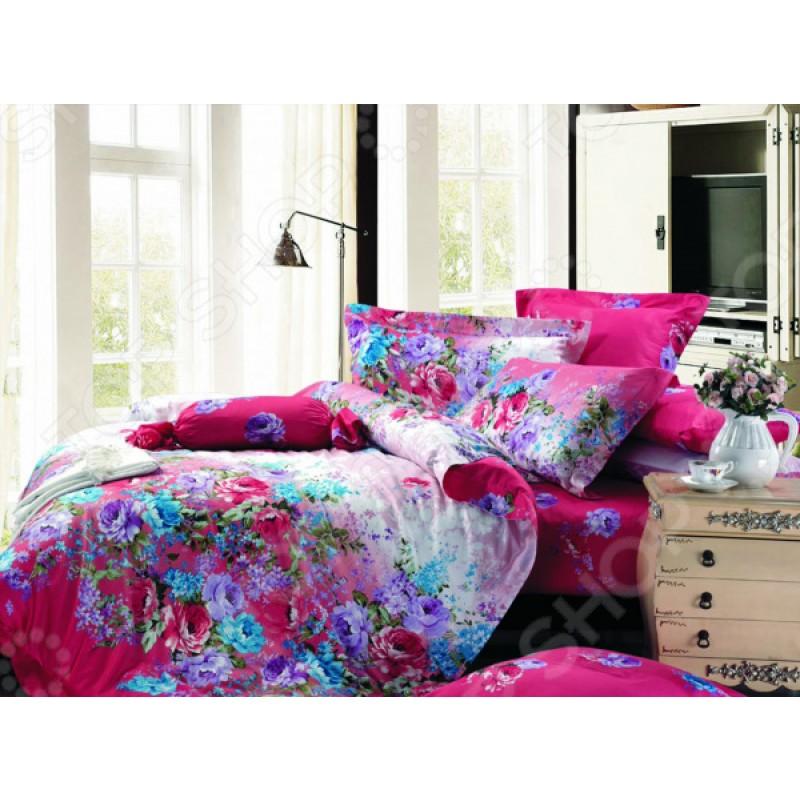 Комплект постельного белья Guten Morgen 649. Цвет: фуксия, голубой. Семейный