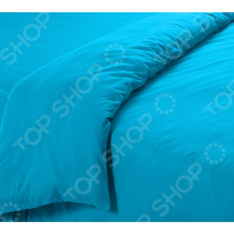 Пододеяльник трикотажный ТексДизайн гладкокрашеный. Цвет: голубой