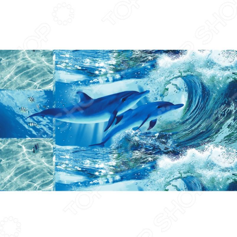 Полотенце банное вафельное ТексДизайн «Дельфинарий»