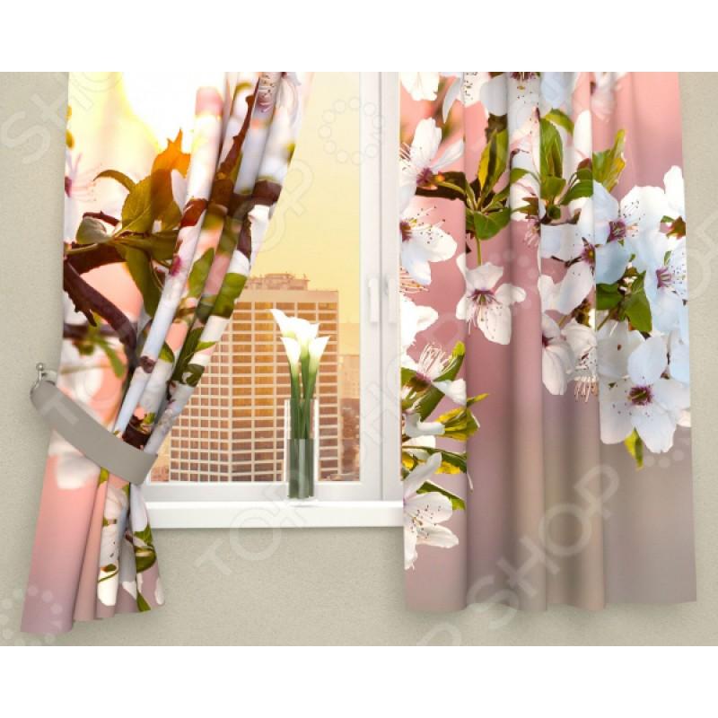 Фотошторы Сирень «Цветы в закате солнца»